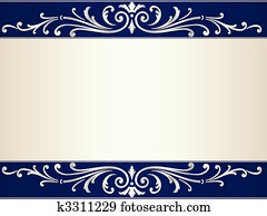 Vintage scroll background in silver beige and blue