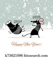 weihnachtskarte, mit, lustig, mouse,, symbol, von, 2020, jahr, und, pig,, symbol, von, 2019