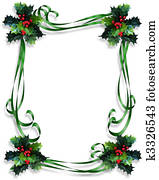 Christmas Holly Border ribbons