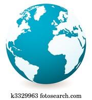 light dark blue globe