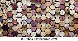 panoramic close-up of wine corks