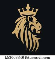 A golden lion with a crown
