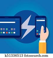 accelerated mobile pages fast in smart phone optimized speed programming coding fast lightning bolt thunder icon fast charging