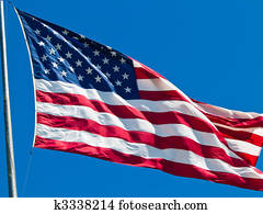 American Flag Waving Proudly on a Clear Windy Day