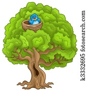 Big tree with blue bird in nest