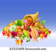 cornucopia with the fruits and vegetables