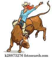 Cowgirl riding a bull, Isolated