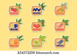 clipart of sweet blueberry blue jam glass jar filled with berry with