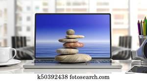 Zen stones stack on a computer, office background. 3d illustration