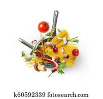 A bowl of pasta and vegetables with mushrooms, top view, isolated on white background