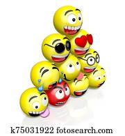 Emojis/ emoticons - different facial expressions - 3D rendering
