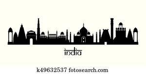 India Landmarks Skyline in Black and White Silhouette