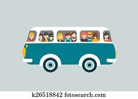 Retro bus with passengers.