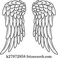 Cartoon angel wings