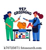 Cute dog at groomer salon. Two young girls shearing and combing spitz. Dog care, grooming, hygiene, health. Pet shop, accessories. Flat style vector illustration.