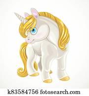 Fairytale cartoon unicorn with golden mane  isolated on a white background