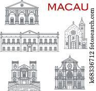 Macau churches and theatre. Asian travel landmarks