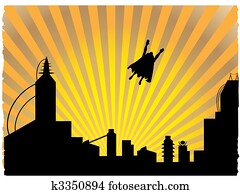 silhouetted, superhero, fliegen, aus, in, dass, sonnenuntergang