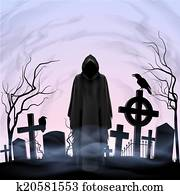 Angel of death in the cemetery