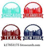 Chicago, Los Angeles, Texas and New York stamps