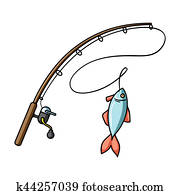 Fishing rod and fish icon in cartoon style isolated on white background. Fishing symbol stock bitmap, rastr illustration.