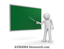 Teacher by the blackboard