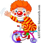 Clown on three-wheeled bicycle