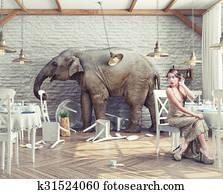 elephant in restaurant