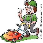 Gardener with his lawnmower