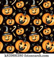 Happy Halloween seamless pattern with Jack O' Lantern pumpkins, candy sweets holiday party decorations. Watercolor Cartoon black background illustration. Halloween spooky cemetery scrapbook paper.