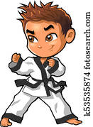 Karate martial arts tae kwon do dojo vector clipart cartoon Boy Stance