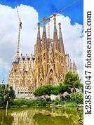 The Basilica of La Sagrada Familia against blue sky.