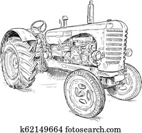 Vector Artistic Drawing Illustration of Old Tractor