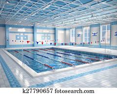3d illustration of interior of public swimming pool