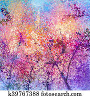 Abstract Cherry blossom flower watercolor painting background