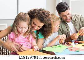 heiter, familie, machen, künste handwerke, gemeinsam, tisch