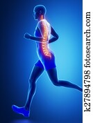 Running man with visible spine