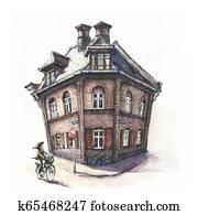 Typical Danich house, Copenhagen