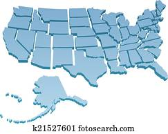 US Map separate United States