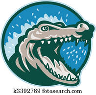 Angry crocodile or alligator head snapping set inside circle.