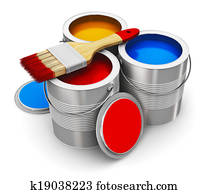 Cans with color paint and paintbrush