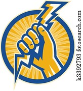 Hand hold a lightning bolt of electricity set inside a circle.