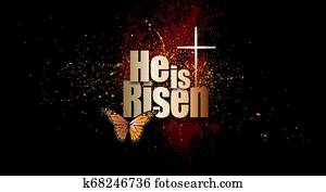 He is Risen Easter Christian graphic with Cross and butterfly background
