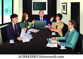 mitarbeitergruppe, versammlung, in, a, modernes, büro