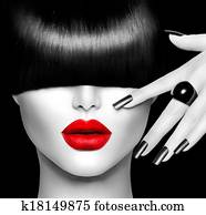 Fashion Model Girl with Trendy Hairstyle, Makeup and Manicure