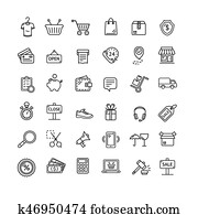 Ecommerce Icon Black Thin Line Set. Vector
