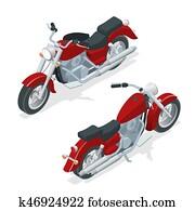 isometrisch, motorrad, oder, motorrad, freigestellt, wei?, hintergrund., dass, begriff, von, freiheit, und, reise