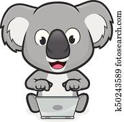 Koala with laptop