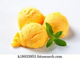 Scoops of mango sorbet