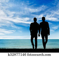 Silhouette of two gay men